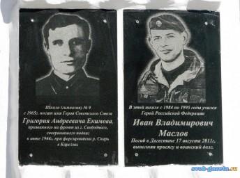 Памятная доска. Екимов Г.А. и Маслов И.В.